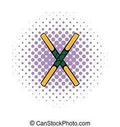 Wooden sword bokken icon, comics style - Wooden sword bokken...