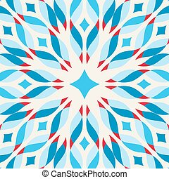 Floor tile - fantastic flower in blue and red - Floor tile -...