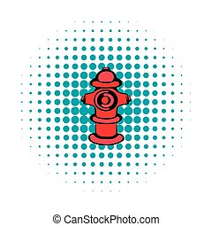 Fire hydrant icon, comics style - Fire hydrant icon in...