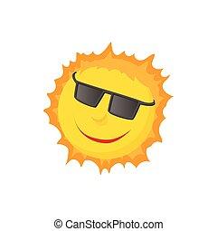 Sun face with sunglasses icon, cartoon style