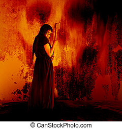 Woman carry an axe - Horror background for halloween concept...