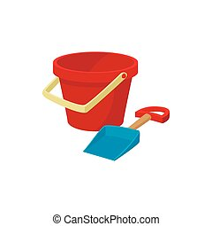 Bucket and shovel for childrens sandbox icon in cartoon...