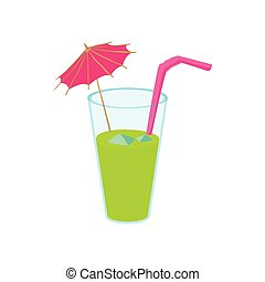 Green cocktail with umbrella icon