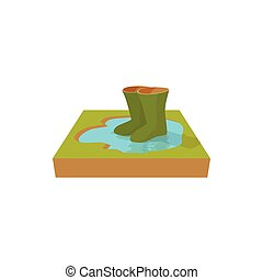 Green rubber boots in a puddle icon, cartoon style