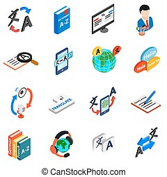 Translator icons set, isometric 3d style - Translator icons...