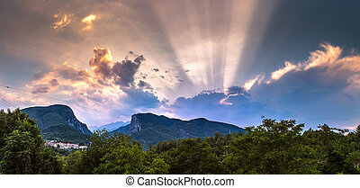 Mount Olympus in Greece in a summer evening