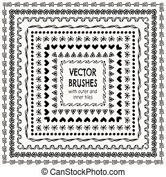 Vector Hand Drawn Balck Pattern Brushes, Borders, Frames -...