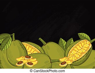 Jackfruit fruit composition on chalkboard, vector -...