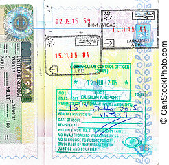 Passport with UK visa and stamps of Cyprus, Ireland -...