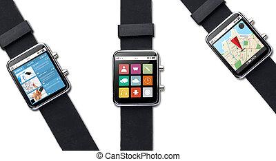 cierre, Arriba, de, elegante, reloj, con, aplicación,...
