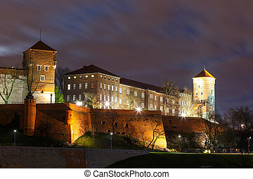 Wawel Castle in the night in Krakow, Poland