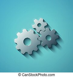 Finance concept: flat metallic Gears icon, vector