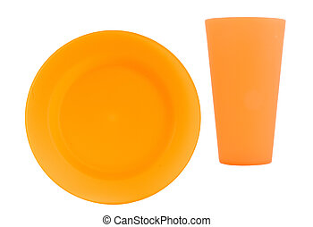orange reusable plate with cup