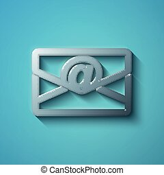Finance concept: flat metallic Email icon, vector