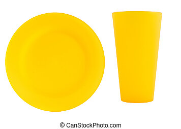 yellow reusable plate with cup