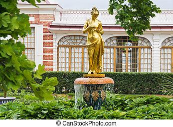 美しい, 金, 噴水, 庭