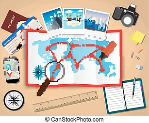planning trip concept at table with paper map of world, magnifier, pen, passport, airplane ticket, photo camera photos, sticky notes. vector illustration in flat design on light background