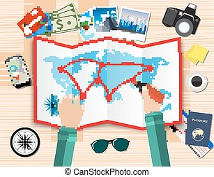 hands. paper map of world and tourist equipment. passport, airplane ticket, coffee cup, smartphone navigation application, photo camera. vector