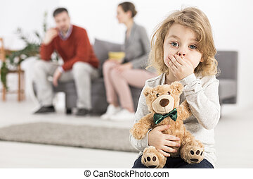Maybe theyre shouting beacuse of me - Worried boy with teddy...