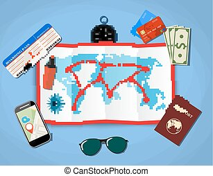 paper map of world. passport, airplane ticket, smartphone with navigation application, money . vector illustration in flat design on blue background
