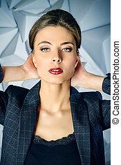 maroon lipstick - Portrait of a beautiful business lady...