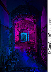 Painting in abandoned soviet bunker - Abstract colorful...