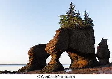 Hopewell Rocks in Canada at sunrise - Hopewell Rocks at low...