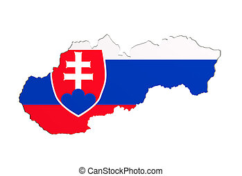 Silhouette of Slovakia map with flag - 3d rendering of...