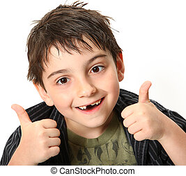 Thumbs Up Boy - Silly seven year old boy making crossed eyes...