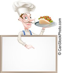 Cartoon Chef Kebab Sign - An Illustration of a Cartoon Chef...