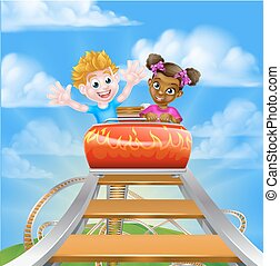 High up on the Roller Coaster - Cartoon boy and girl riding...