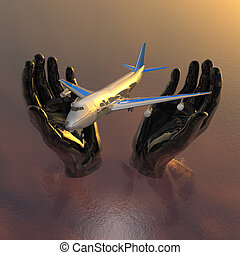 airliner in hands, safety flight in 3d