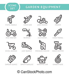 Set line icons of garden equipment isolated on white Vector...
