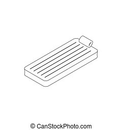 Floating air mattress icon, isometric 3d style