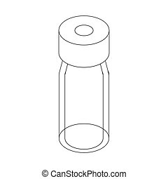 Medical glass bottle icon, isometric 3d style - Medical...
