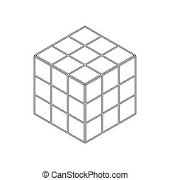 Cube toy puzzle icon, isometric 3d style