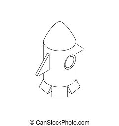 Rocket toy icon, isometric 3d style