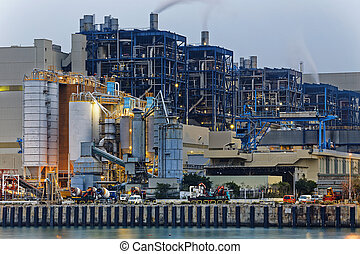 Power station industry building , petrochemical plant with...