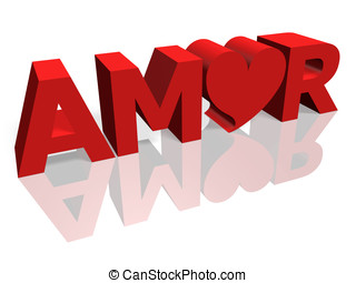 Amor - 3d render of the word Amor with red letters and a...