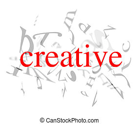 creative words - red creative word on white background with...