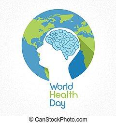 World Health Day Earth Planet Human Head Brain Flat Vector...