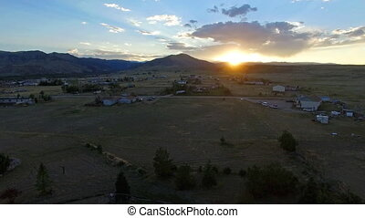 Bighorn Mountain Sunset - Aerial video of a sunset in the...