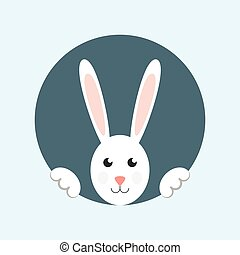 White easter rabbit. Easter rabbit card. Easter rabbit...