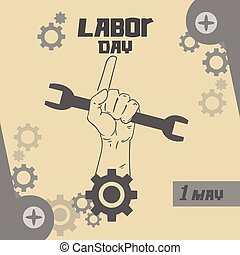Hand Hold Spanner Wrench, Point Finger Up, International Labor Day May Holiday