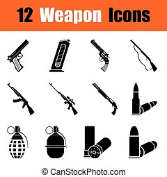 Set of weapon icons - Set of twelve weapon black icons...