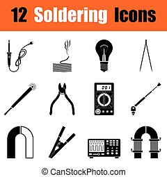 Set of soldering icons - Set of twelve soldering black...