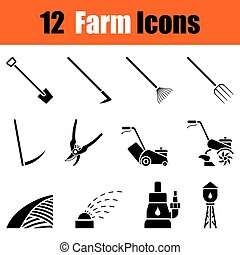Set of gardening icons - Set of twelve gardening black...