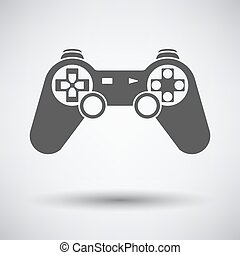 Gamepad icon on gray background with round shadow Vector...