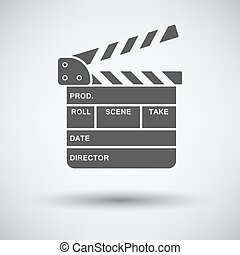Clapperboard icon on gray background with round shadow....
