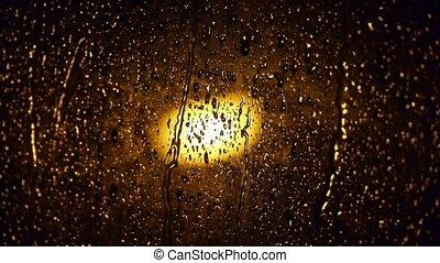 Raindrops at nighttime.